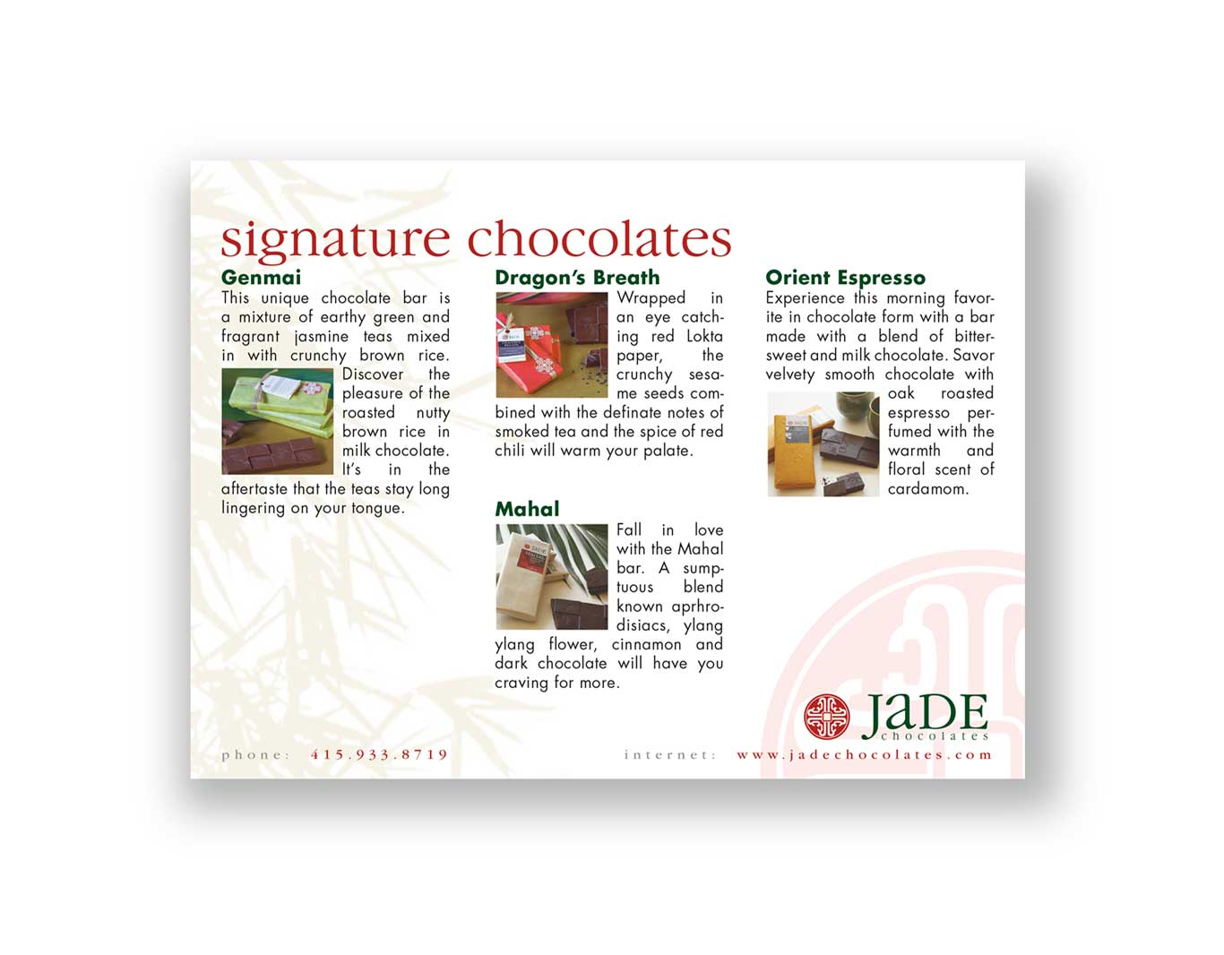 Collateral- Jade Chocolates Catalogue