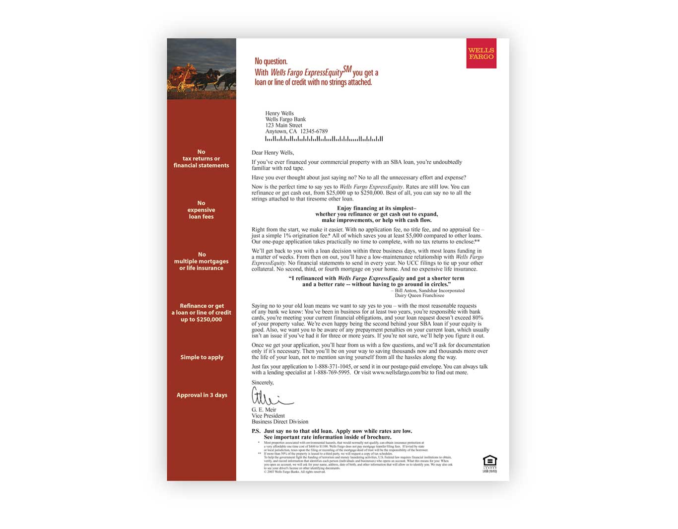 Direct Response- Wells Fargo
